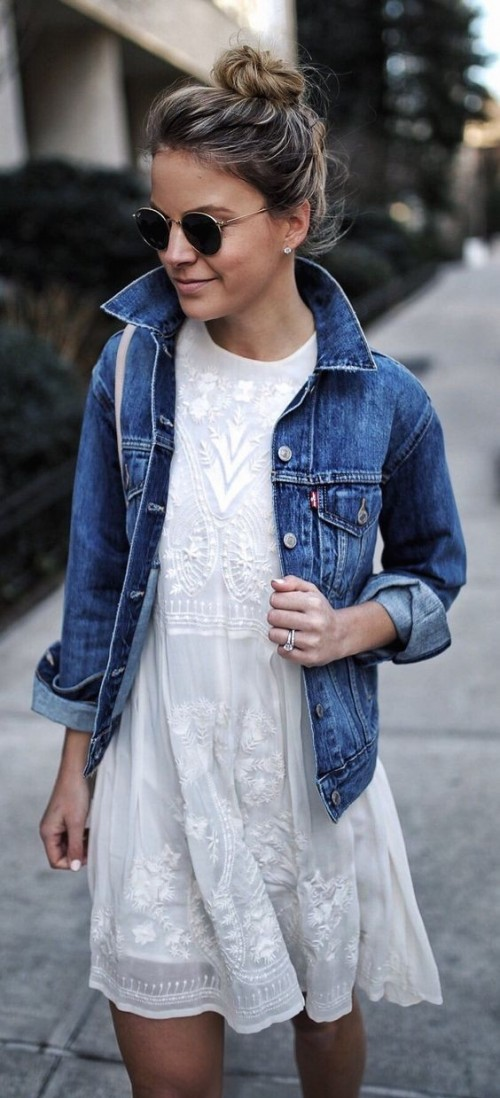 Help me find a similar white embroidered dress and blue denim jacket along with the black round sunglasses. - SeenIt