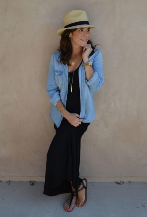 A similar black maxi dress, blue denim shirt and beige hat please!! - SeenIt