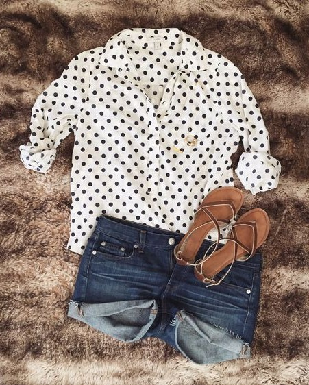 Looking for the black and white polka dot shirt, blue denim shorts and brown flats. - SeenIt