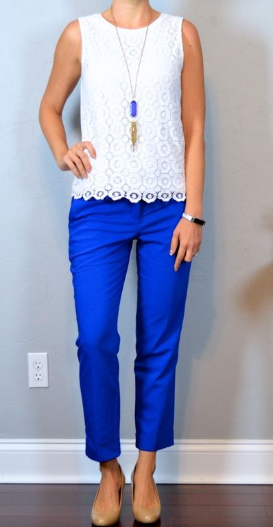 Find me a similar white lace top and blue trousers please! - SeenIt