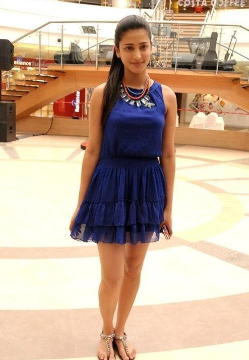 Where can I find a similar blue frilled dress like Shruti Hassan is wearing? - SeenIt