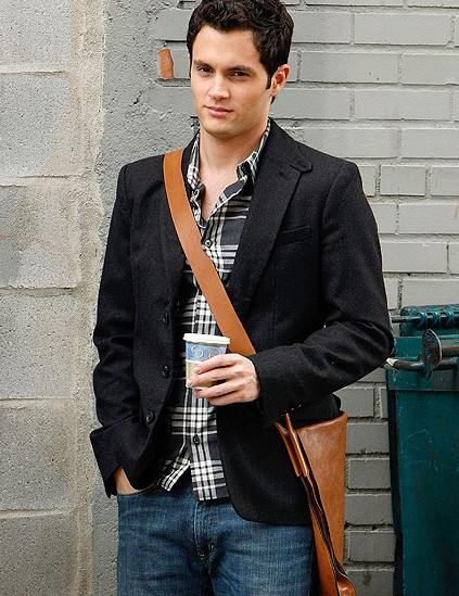 Looking for similar black, grey and white printed shirt, black jacket and brown side bag that Dan Humphrey is wearing - SeenIt
