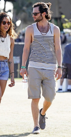 Looking for similar black and white striped tank, beige shorts and matching necklace for men - SeenIt