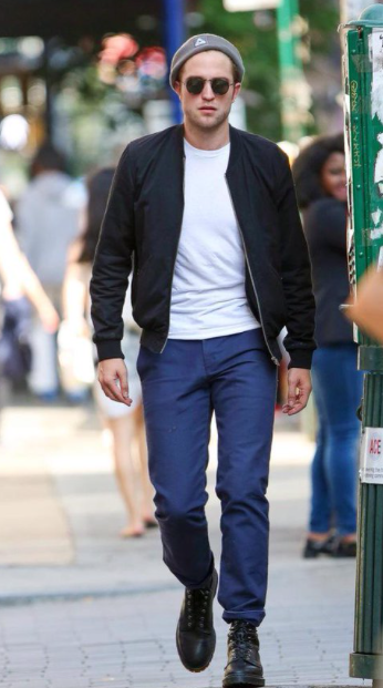 want a similar white tee, blue pants, black ankle length shoes that Robert Pattinson is wearing - SeenIt