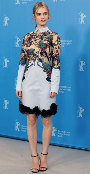 Yay/Nay? What do you think about Lily James' sheer and embroidered ice blue dress? - SeenIt