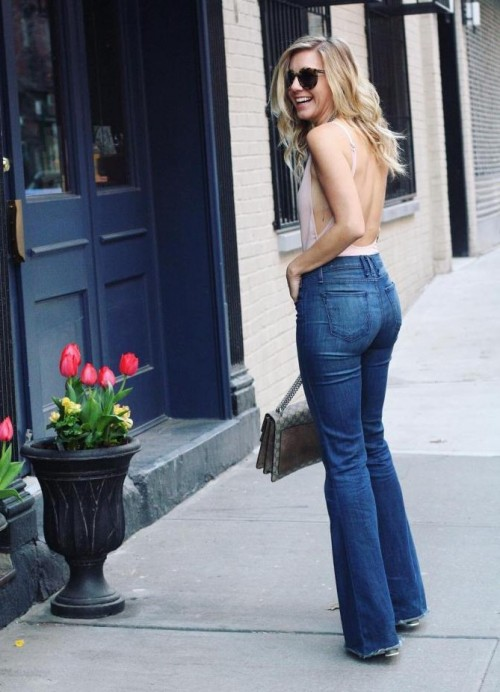 Want a pink backless top and blue high waisted boot-cut jeans - SeenIt