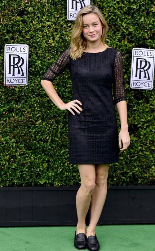 Help me find a similar black lace dress like Brie Larson is wearing along with the black slipons. - SeenIt