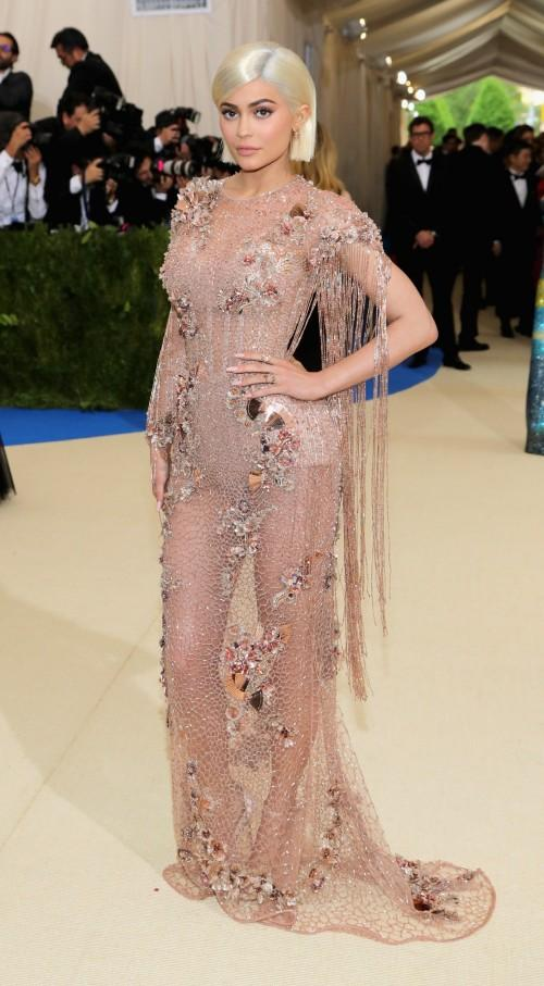 Yay or Nay? Kylie Jenner wearing a Versace sheer embellished gown at the Met Gala 2017 last night. - SeenIt