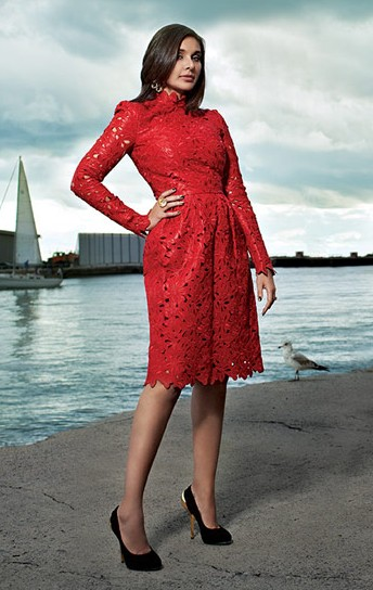 Looking for a similar red lace dress that is seen on Lisa Ray - SeenIt