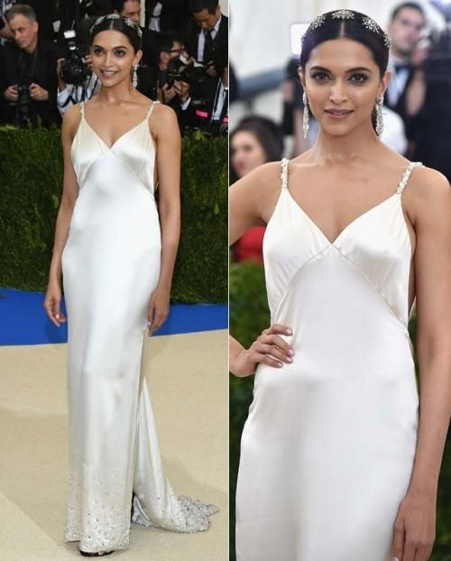 Yay or Nay? Deepika Padukone wearing a silver sleek spaghetti gown at the Met Gala 2017. - SeenIt