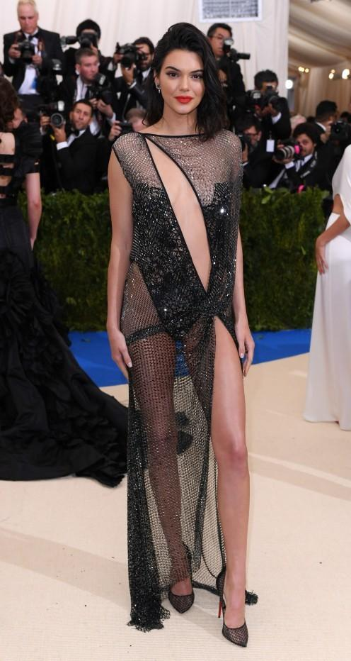 Yay or Nay? Kendall Jenner wearing a La Perla sequin cut out mesh gown at the Met Gala 2017 last night. - SeenIt