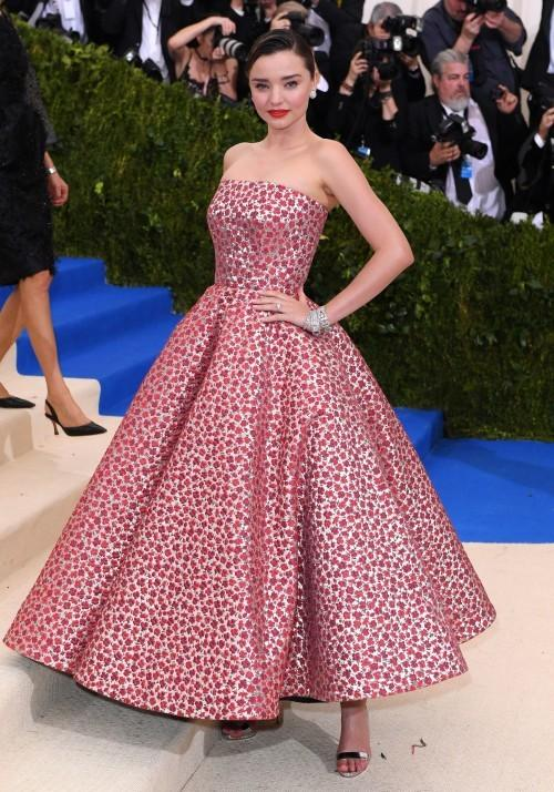 Yay or Nay? Miranda Kerr spotted in a floral embroidered strapless flared gown at the Met Gala 2017 last night. - SeenIt