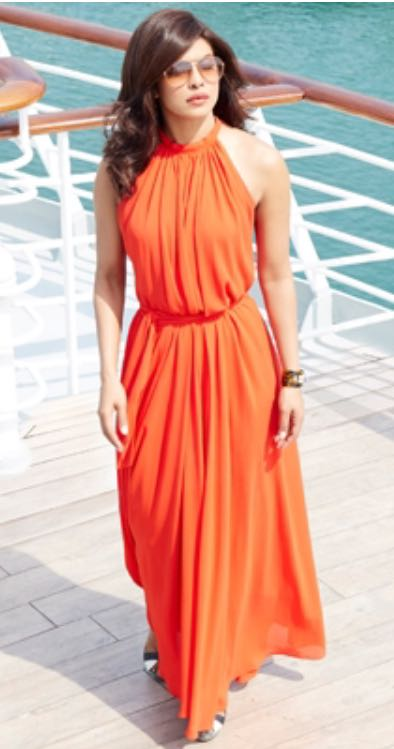 Want the orange maxi dress and sunglasses which priyanka chopra is wearing - SeenIt
