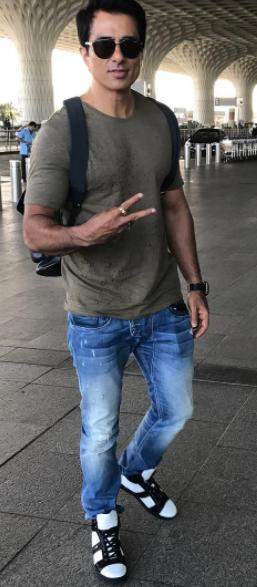 bd726364165e Looking for a similar olive green tshirt blue jeans as seen on Sonu Sood -  SeenIt