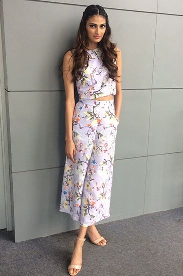 Want a similar floral coords...crop top and culottes that Athiya Shetty is wearing. - SeenIt