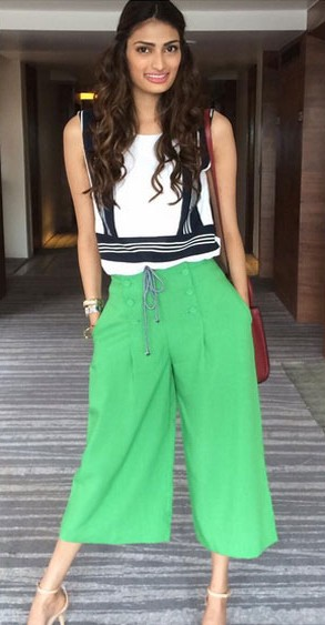 Find me a similar green culottes and white and black top like Athiya Shetty is wearing. - SeenIt