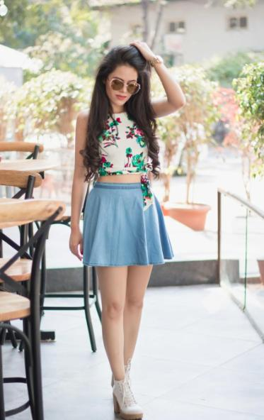 Looking for this floral top and blue skirt which Aakriti Gill is wearing - SeenIt