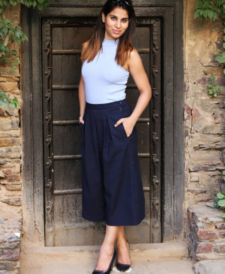 I'm looking for similar black culottes, black stilettos, and ice blue top that Tanya Mahendra is wearing on FashionOomph - SeenIt