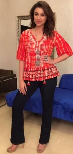Want the printed top, black jeans, silver necklace and nude heels which Parineeti Chopra is wearing for Meri Pyaari Bindu promotions - SeenIt