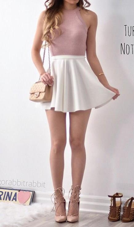 Want the dusty pink top and white skater skirt - SeenIt