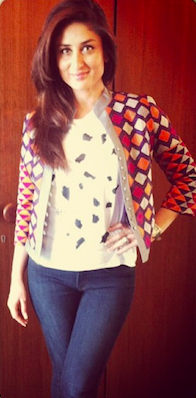 Similar to this  multi coloured jacket which Kareena Kapoor is wearing - SeenIt