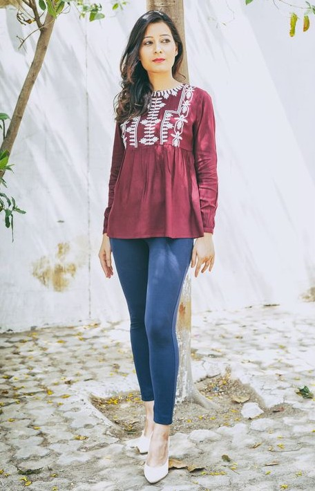 Love the style of this maroon embroidered top. Find me this please. - SeenIt