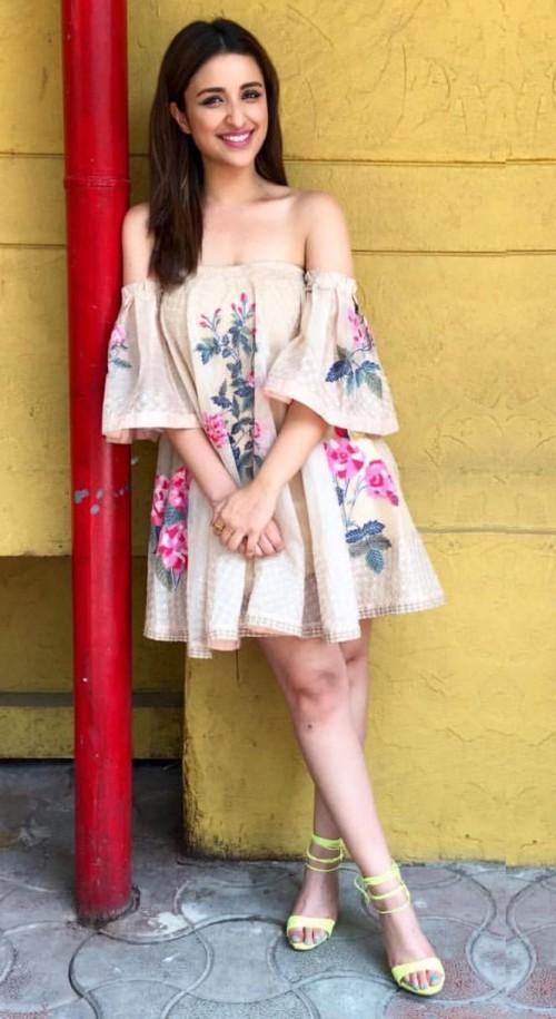 Want a similar Parineeti Chopra off shoulder beige floral dress #parineetichopra - SeenIt