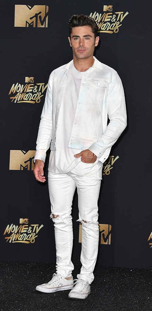 Yay or Nay? Zac Efron dressed in an all white attire with ripped denims at the MTV Movie & Tv awards last night - SeenIt