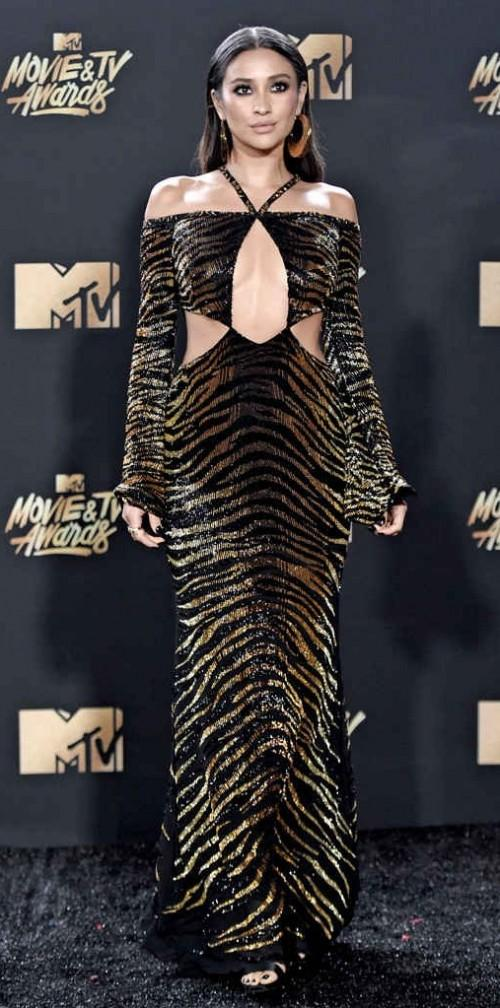 Yay or Nay? Shay Mitchell wearing an animal print off shoulder cut out gown at the MTV Movie & Tv awards last night - SeenIt