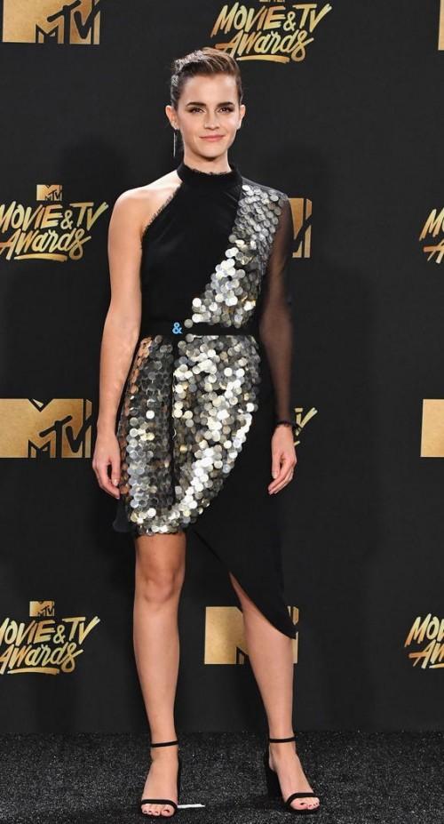 Yay or Nay? Emma Watson wearing a black sequin asymmetric dress at the MTV Movie & Tv awards last night - SeenIt