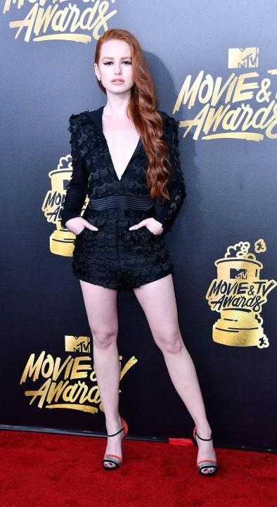 Yay or Nay? Madelaine Petsch wearing a black playsuit  at the MTV Movie & Tv awards last night - SeenIt