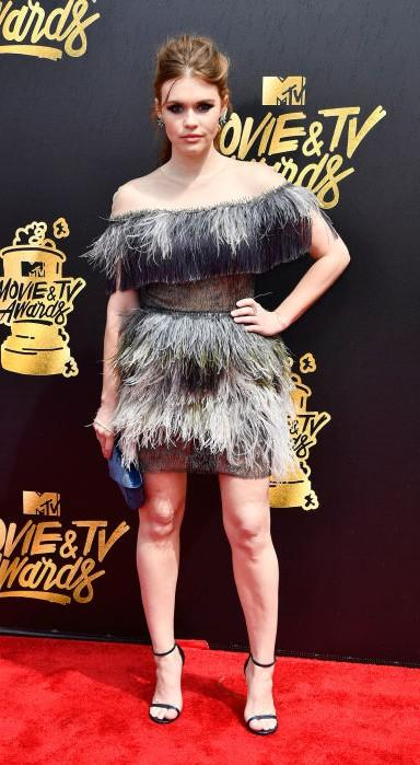 Yay or Nay? Holland Roden wearing a fur clad off shoulder dress  at the MTV Movie & Tv awards last night - SeenIt