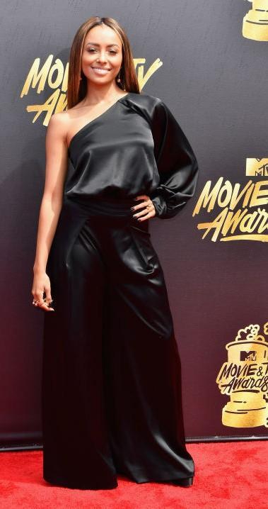 Yay or Nay? Kat Graham wearing a black satin single shoulder jumpsuit at the MTV Movie & Tv awards last night - SeenIt