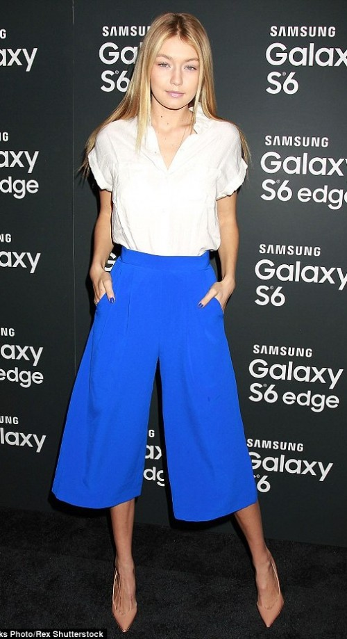 looking for gigi hadid's blue culotte pants - SeenIt