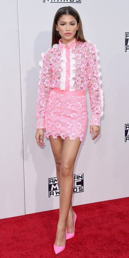 zendaya in a pink dress at the american music awards 2015 redcarpet - yay or nay? - SeenIt