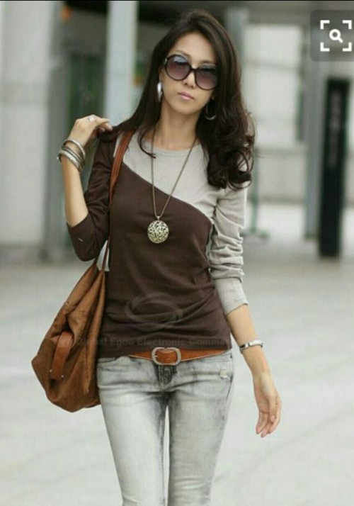 Want a similar top, grey jeans and sunglasses. - SeenIt