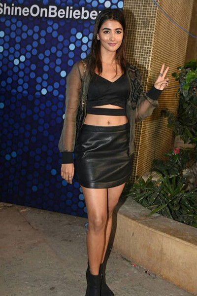 Yay or Nay? Pooja Hegde opted for a leather look, a black leather skirt and crop top paired with a sheer black jacket at the Justin Bieber's Concert last night. - SeenIt