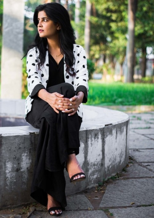 I'm looking for a similar polka dot blazer and black heels as seen on StyleInked - SeenIt
