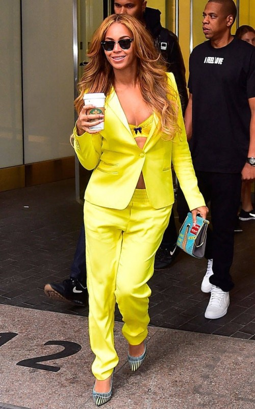 Looking for a similar yellow jacket and pants as the one Beyonce is wearing - SeenIt