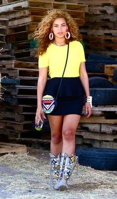 Help me find a similar yellow crop top and black bodycon skirt as Beyonce is wearing - SeenIt