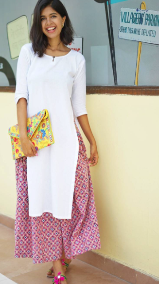 I'm looking for a similar white kurta, printed palazzos and a yellow envelope clutch as seen on Sejal Kumar - SeenIt