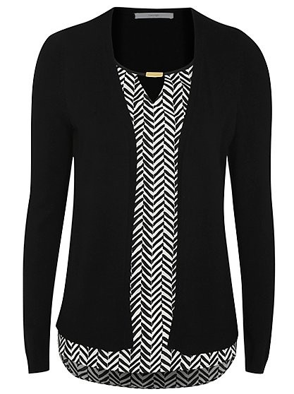 Need this black and white top with attached black cardigan. Please help. - SeenIt