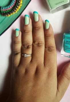 I'm looking for a similar mint green and aqua blue nail paint as seen on thestyleprism - SeenIt