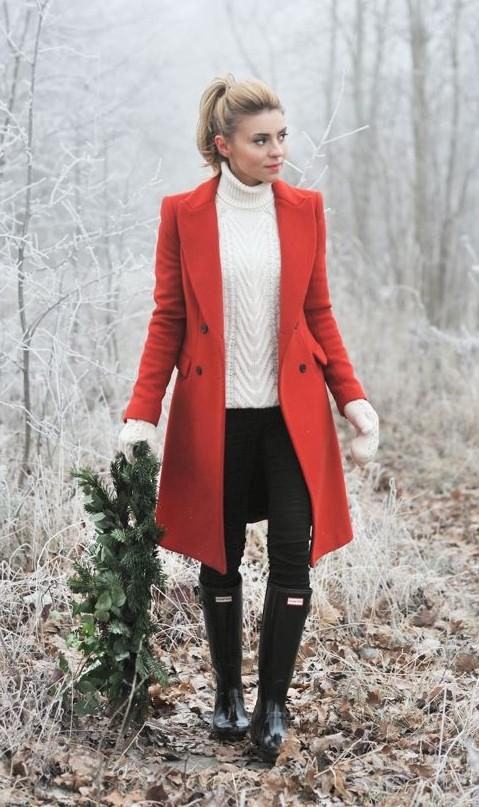 Loving this outfit for Christmas! Find me a similar red coat, white knit pullover and boots pls - SeenIt
