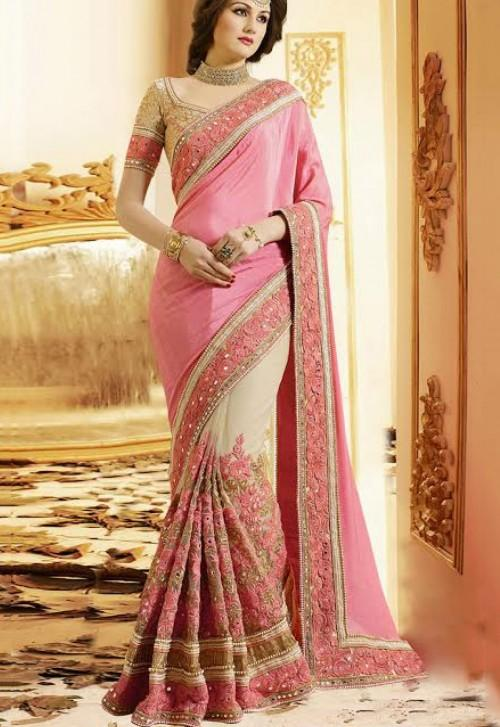 Want this pink embroidered saree - SeenIt