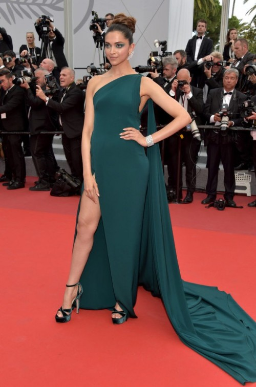 Yay or Nay? Deepika Padukone wearing a bottle-green Brandon Maxwell gown on the day 2 of the Cannes Film Festival - SeenIt