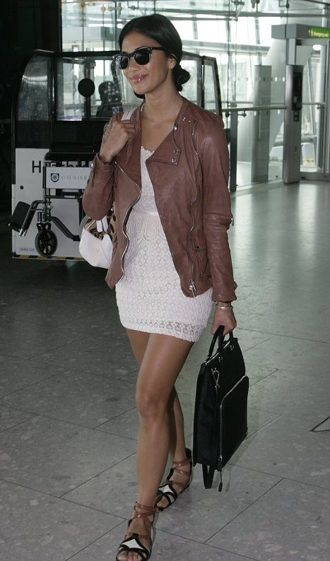 Help me find the white lace dress, brown leather jacket and black clubmaster sunglasses like Nicole Scherzinger is wearing. - SeenIt