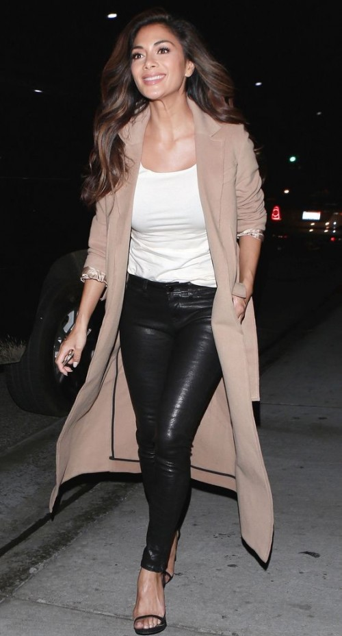 Need a similar black leather pants, white tank top and pink coat like Nicole Scherzinger is wearing.. - SeenIt
