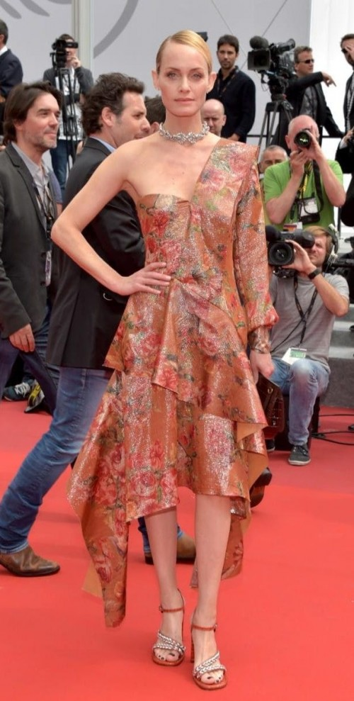 Yay or Nay? Amber Valletta wearing a shimmer printed one shoulder dress to the Wonderstruck Premiere during the Cannes Film Festival - SeenIt