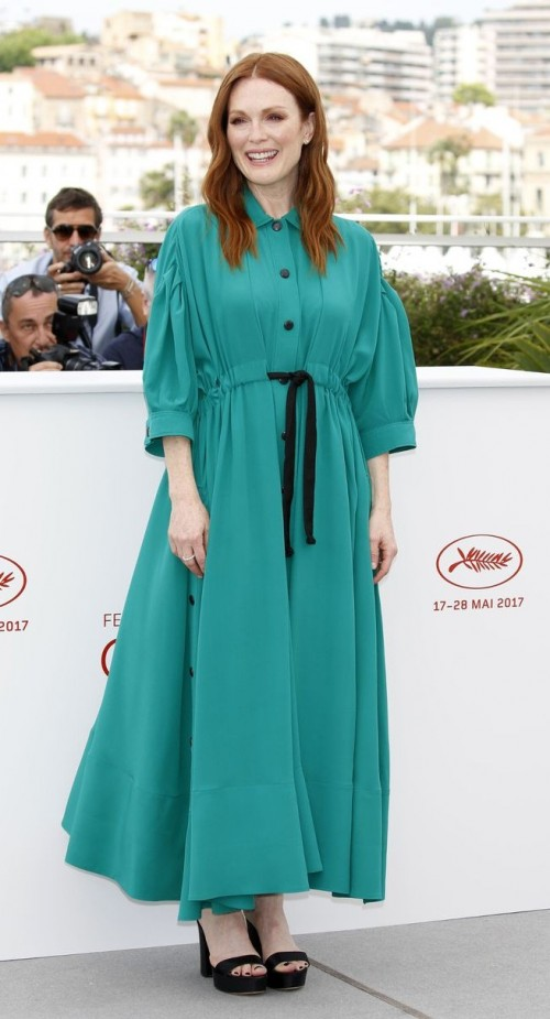 Yay or Nay? Julianne Moore wore a pretty green shirt dress on day 2 of the Cannes Film Festival - SeenIt